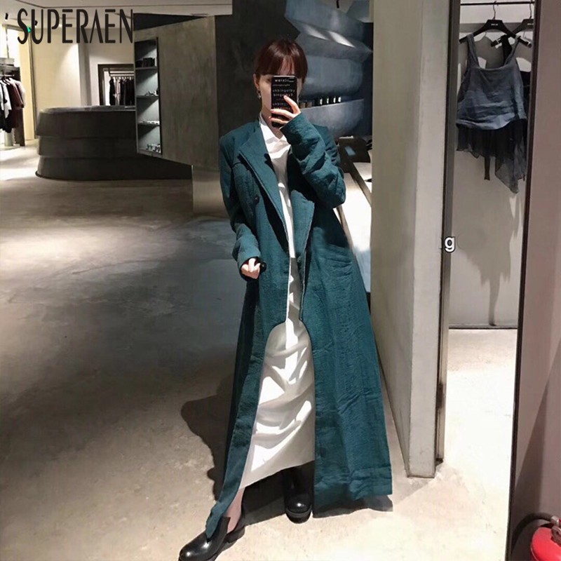 SuperAen 2019 Spring and Autumn   Trench   Coat for Women New Europe Cotton Ladies Windbreaker Solid Color Wild Women Clothing