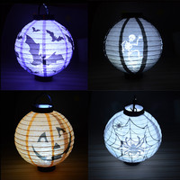 4pcs Christmas Party Decorations Halloween Pumpkin Lights Bar Nightclub Dance Portable Hanging Paper Lanterns Can Mounte Battery