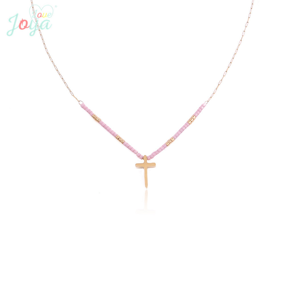 Badu Gold Cross Pendant Necklace For Women Stainless Steel Choker Necklace 2018 New Arrival Pink Beads Jewelry Wholesale in Chain Necklaces from Jewelry Accessories