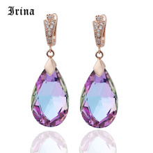 Irina Long silver pendant earrings ladies gift Moonstone Color Water Drop Natural Zircon Dangle Earrings Elegant long