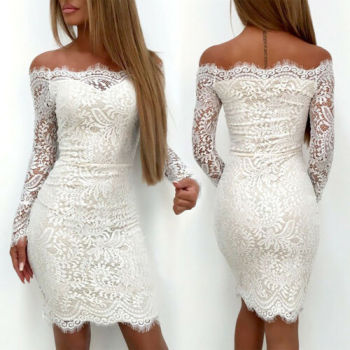 White Lace Bodycon Dress 1