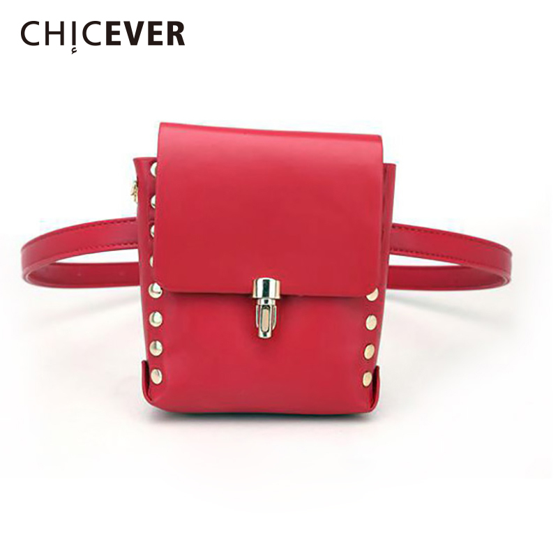 CHICEVER Rivet Belt With Bag Female Pu Leather Red Metal Buttons Fashion New Womens Accessories 2020