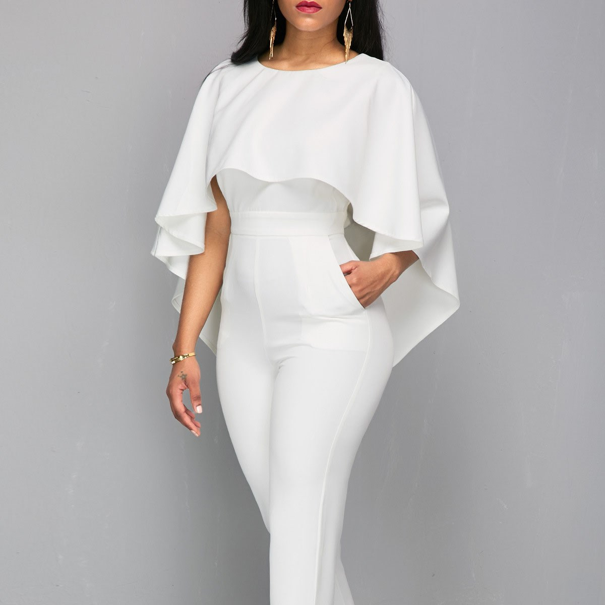 Lady White Elegant O-Neck Solid Cape Sleeve Jumpsuit Women Jumpsuits Boycon Slim Backless Jumpsuits Rompers