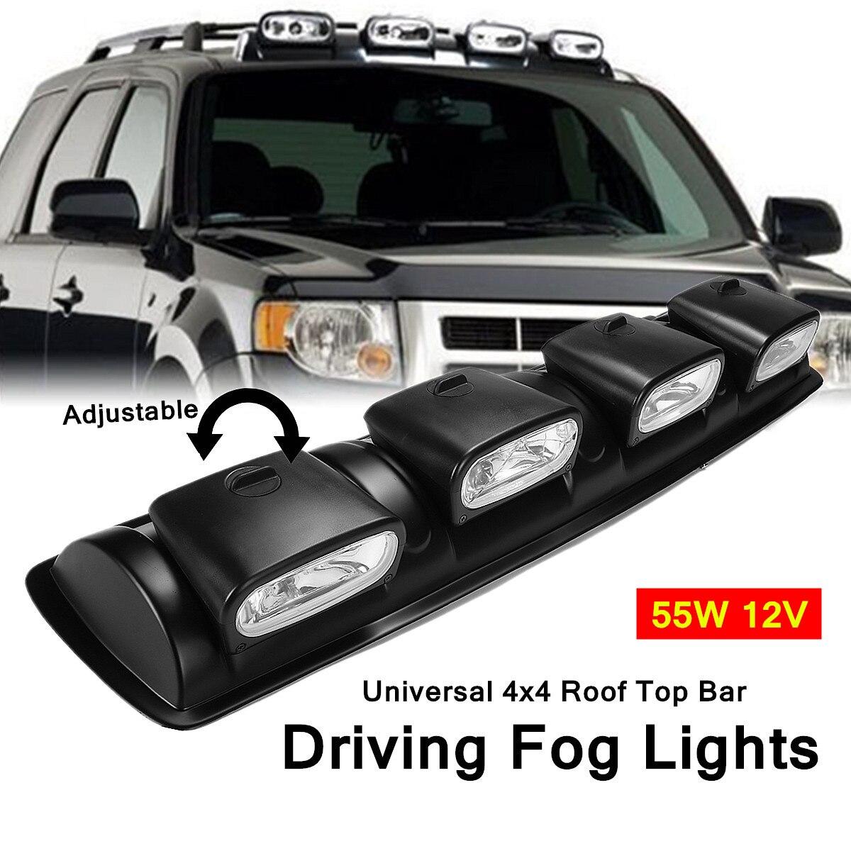 Universal 4x4 Roof Top Bar Driving Fog Lights 4 Lens Offroad Spot Head Lamps 55W 12V ABS Plastic Bracket + H3 Bulb Fits Vehicles