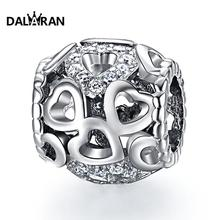 DALARAN 925 Sterling Silver Heart Beads Fit Charm Bracelet Necklace For Women DIY Fashion Jewelry new diy 925 sterling silver heart carved high technology cute small robot charm beads fit trendy bracelet for women anniversary