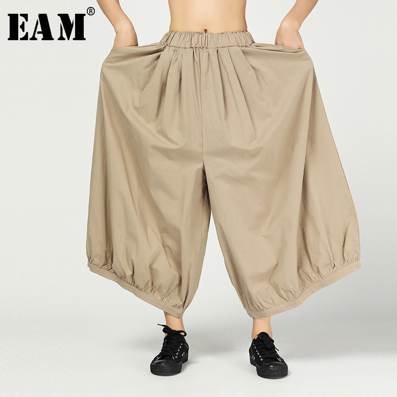 [EAM] 2019 New Spring Summer High Elastic Waist Loose Black Brief Linen Wide Leg Pants Women Trousers Fashion Tide JR012
