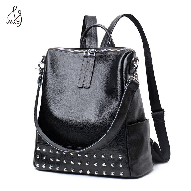 Casual Genuine Cowhide Leather Women Rivet Multifunction Backpack Shoulder Large Backpacks Mochila School Bags Teenagers Maidy daily backpack girl school bag genuine leather women backpacks shoulder bags fashion cowhide student schoolbag mujeres mochila