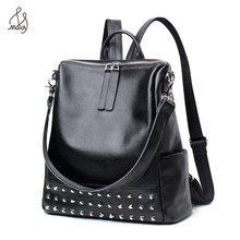 Casual Genuine Cowhide Leather Women Rivet Multifunction Backpack Shoulder Large Backpacks Mochila School Bags Teenagers Maidy casual travel cowhide leather women multifunction backpack shoulder large backpacks mochila school bags teenagers designer maidy