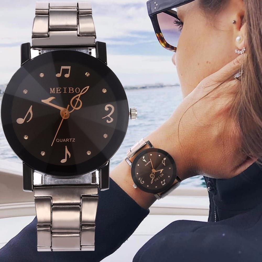 Best Selling MEIBO Brand Ladies Stainless Steel Music Note Second Hand Quartz Watch Luxury Fashion Women Watch Relogio Feminino