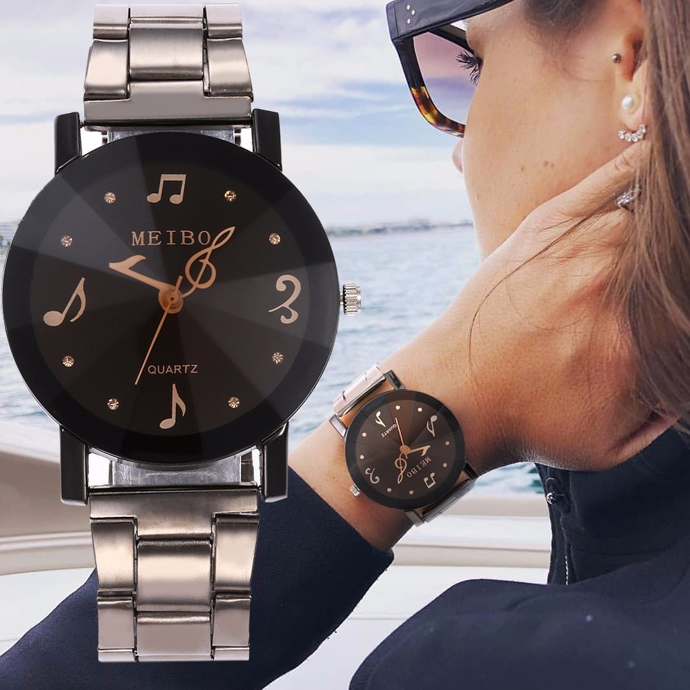 MEIBO Brand Ladies Stainless Steel Music Note Second Hand Quartz Watch Luxury Fashion Women Watch Relogio Feminino
