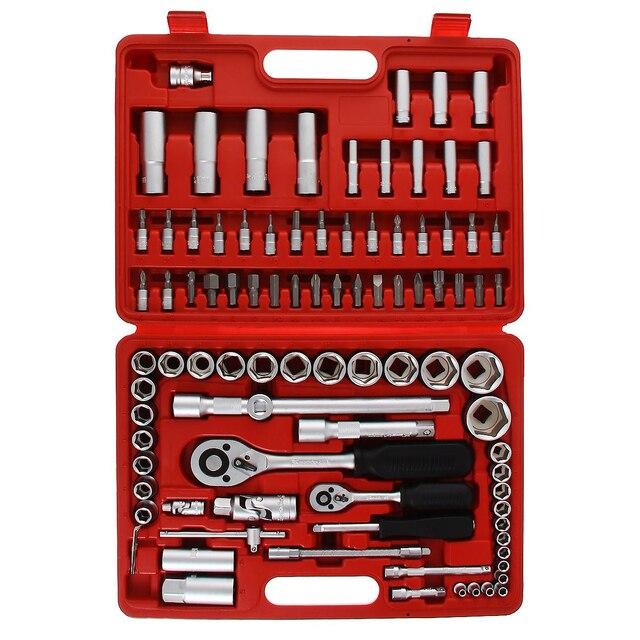 Набор ручного инструмента MATRIX 13580 (Комбинированный набор инструмента из 94 предметов, выполнен из хромованадиевой стали, храповик, головки торцевые, биты, ключи шестигранные)