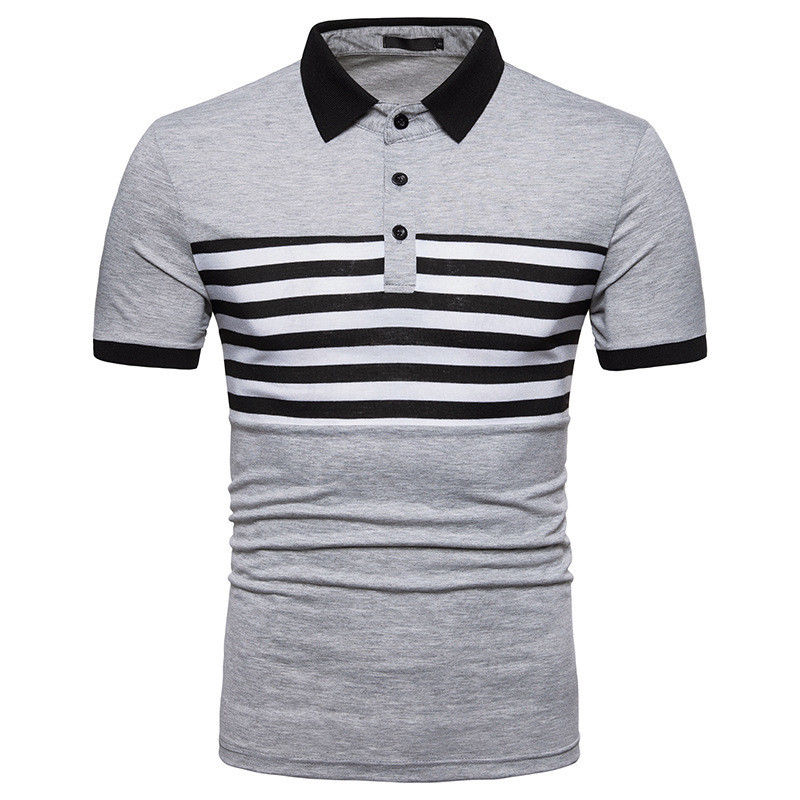 Cool Mens Turn-down Collar Striped White Black Gray Polo Shirts Short Sleeve Formal Plain All-match Handsome Boy Tops Polo Shirt