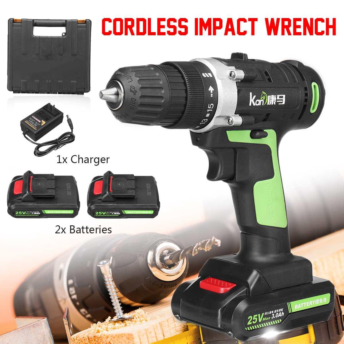 Kit de clé à chocs électrique sans fil 25 V 3.0Ah perceuse 3/8 ''tournevis 2 batterie Li perceuse à main Installation outils électriques