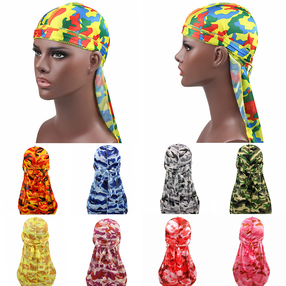 Fashion Camo Men's Silky Durags Turban Print Unisex Silk Durag Headwear Bandans Headband Hair Accessories Pirate Hat Waves Rags