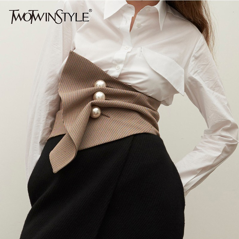 708b6f7ff4 Detail Feedback Questions about TWOTWINSTYLE Fashion Wide Waistband Female  High Waist Pearls Plaid Corset For Women Irregular Accessories 2018 Autumn  New on ...