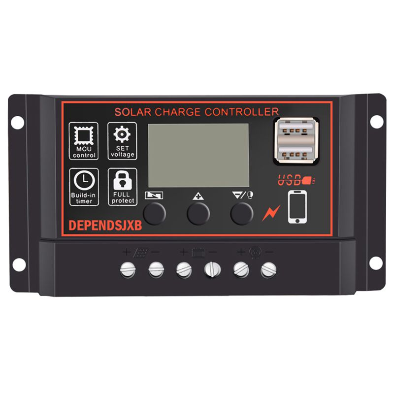 Solar Panel Controller Battery Charge Regulator 12V/24V Auto With Dual UsbSolar Panel Controller Battery Charge Regulator 12V/24V Auto With Dual Usb