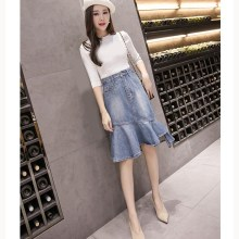 Summer Casual Women Trumpet Skirts Fashion High Waist Denim Irregular Hem Short Jeans Skirt