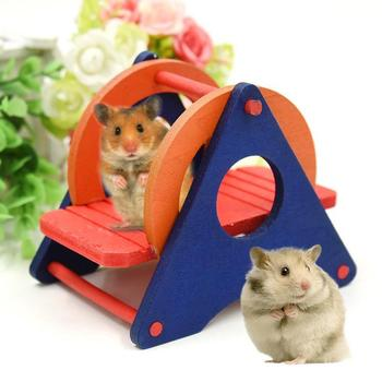 Hamster Toys Supplies Seesaw Rat Swing Mouse Harness Parrot Wooden Hamster Swing For Little Pet Exercise Sport Play 4
