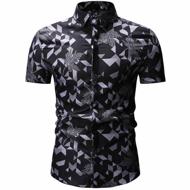 男性シャツ夏スタイルパームツビーチハワイシャツ男性カジュアル半袖ハワイシャツシュミーズオムヨーロッパサイズ 3XL