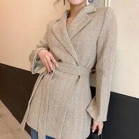 2019 Fashion Women Striped Double Breasted Jacket Blazer With Belts Vintage Female Women Blazers