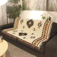Этнический стиль Вязаный диван одеяло геометрический узор одеяло гостиная спальня ковер Покрывало Скатерть гобелен