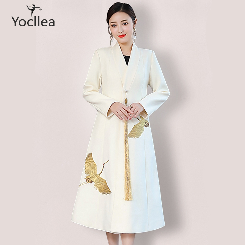 Wool Coats for women Chinese style Autumn winter warm coats V neck Embroidery Tassel covered button