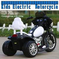Electric Kids Motorcycle 3 Anti Slip Wheels for Harley Style 1 6 Years Black & White New American Plug Style Child Motorbike Toy