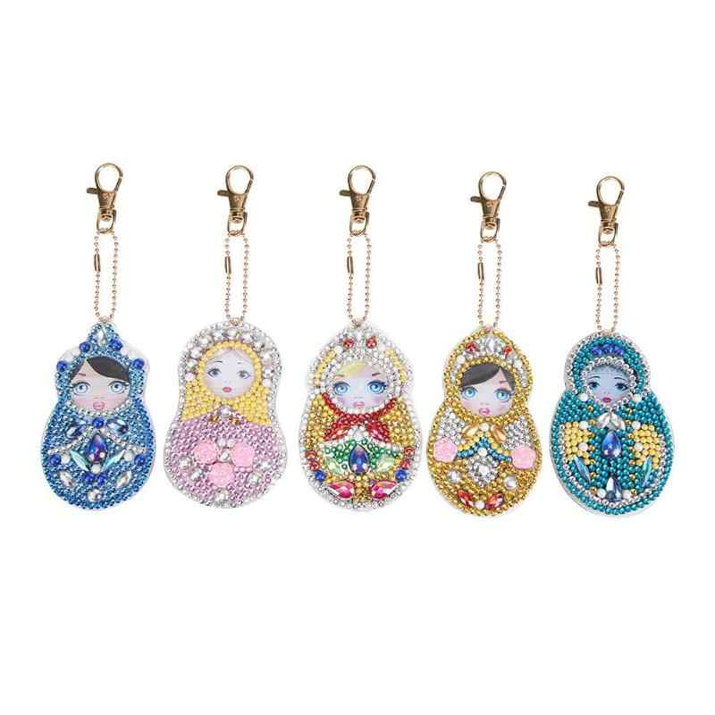 5D Pintura Diamante Strass Chaveiro Pingente Artesanato DIY Kits Diamante Pintura Bordado Ponto Cruz Chave de Cadeia de Acessórios