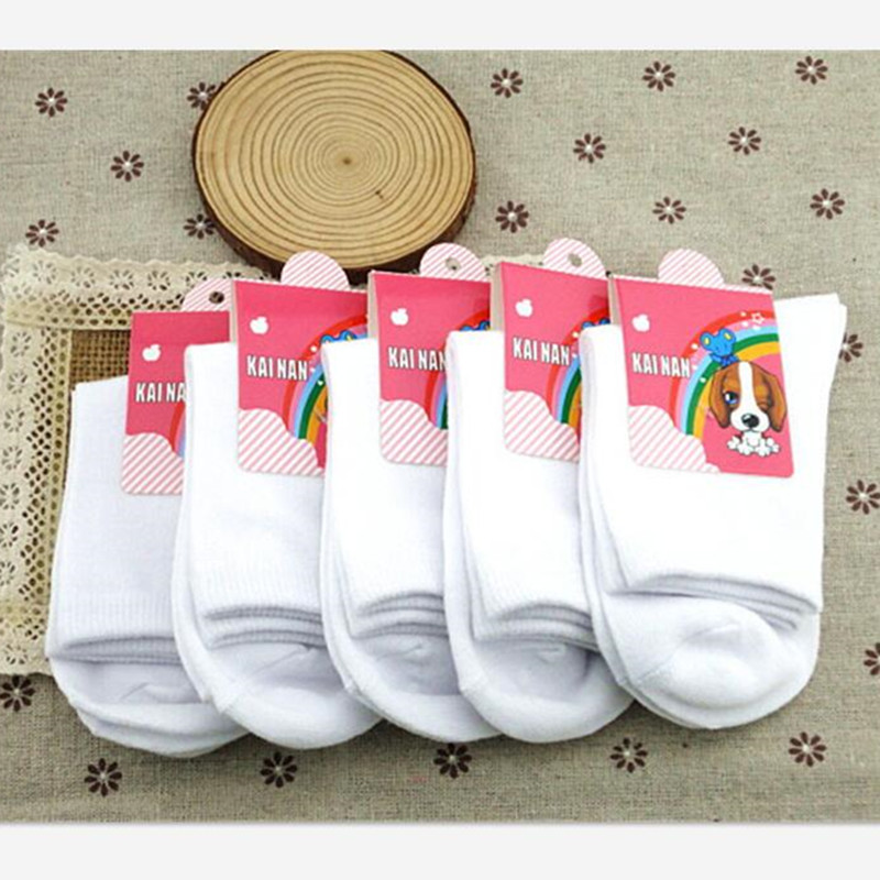 1 Pairs Baby White Kids Socks Spring Style Solid Thin Soft Cotton Children For Boys Girls Sport Students Socks thumbnail