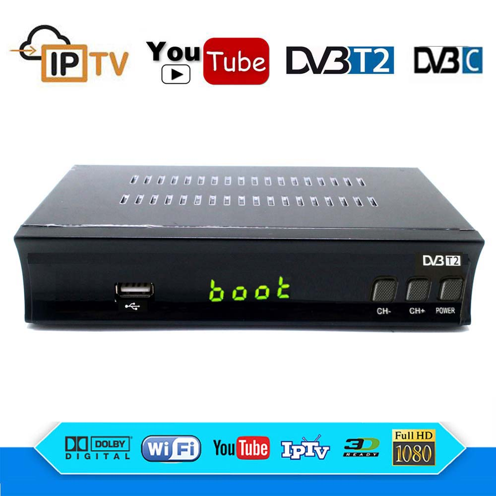 DVB-T2 DVB-C Terrestrial Receiver HD Digital TV Tuner AC3 Receptor DVB T2 H.264 TV Receiver DVB T Wifi IPTV Youtube Set Top BoxDVB-T2 DVB-C Terrestrial Receiver HD Digital TV Tuner AC3 Receptor DVB T2 H.264 TV Receiver DVB T Wifi IPTV Youtube Set Top Box