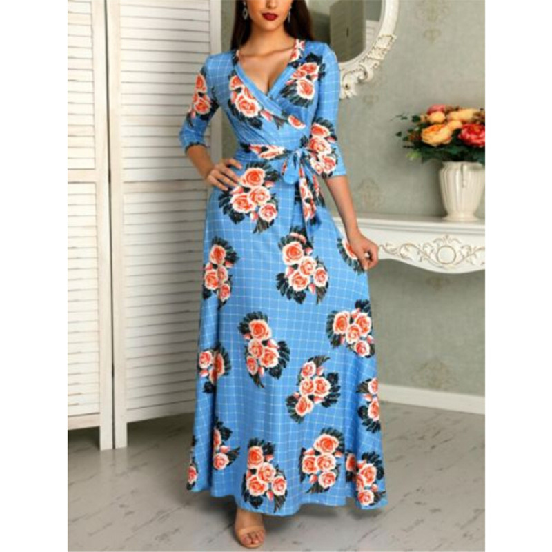 Womens Floral Printed Autumn Spring Dress Fashion Long Maxi Dresses Long Sleeve Evening Party Holiday Beach Dress V-neck Dresses