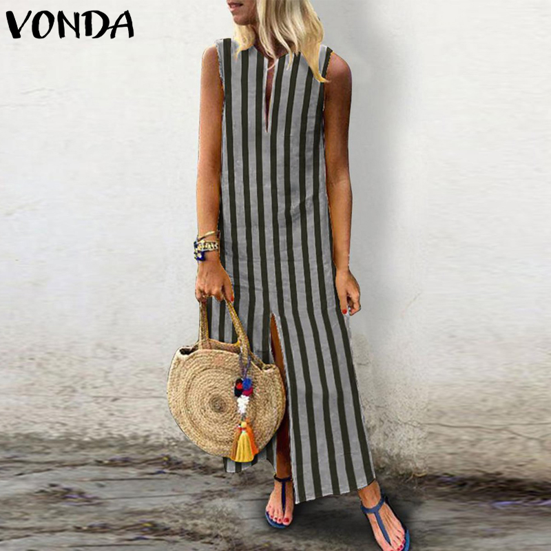 VONDA Maxi Long Dress 2018 Summer Women Vintage Striped Dress Casual Loose Sexy Sleeveless V Neck Ankle-length Vestido Plus Size