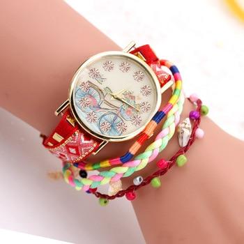 Korean version bicycle national wind Bracelet lady watch canvas ribbon pendant watch small fresh fashion watch