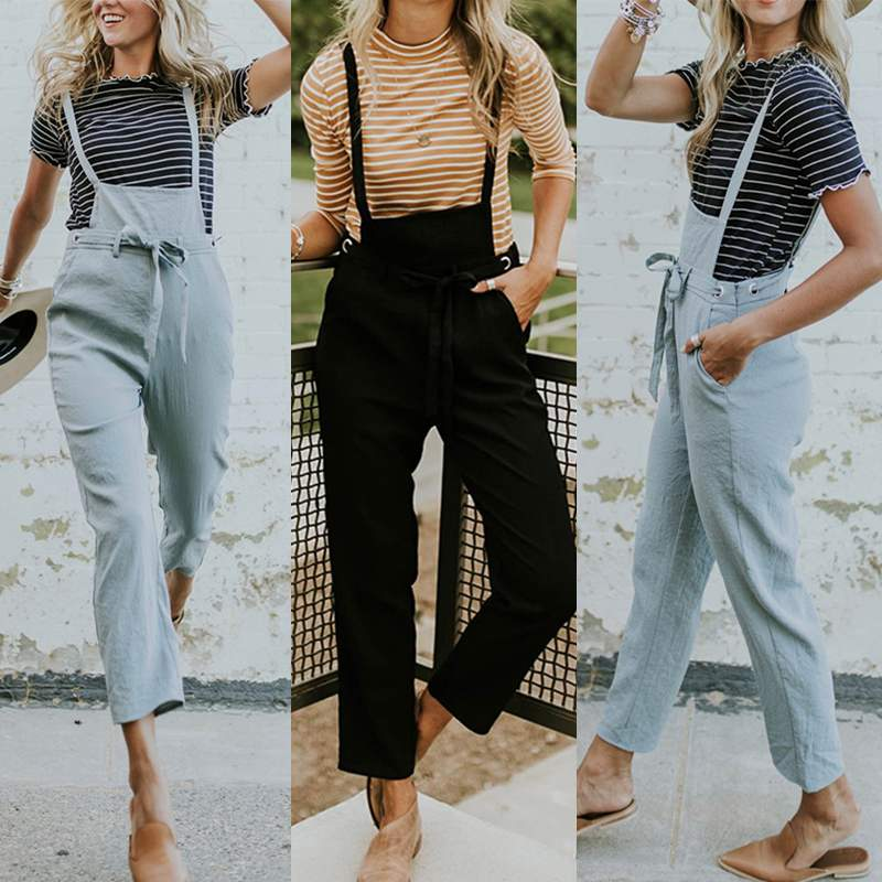 5XL Casual Overalls Plus Size Women's   Jumpsuits   ZANZEA Suspender Strappy Playsuits Pantalon Pants Belt Rompers Macacao Feminino