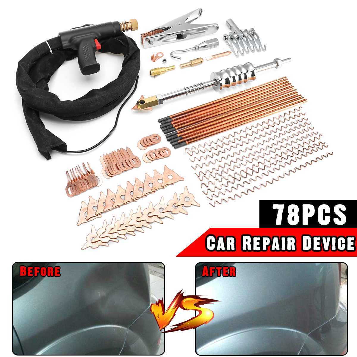 78pcs Car Repair Dent Puller Welder Kit Car Body Spot Dent Removal Device Stud Welding G u n Tool with 195cm Cable