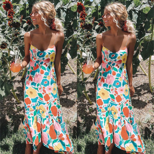 2c2a887f992c New Women Summer Sleeveless Floral Long Maxidress Evening Cocktail Party  Beach Dresses Sundress