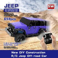 Steel World 2.4ghz 6 Channels USB Charging Building Block DIY Construction Remote Control Jeep Off road Toys RC Cars