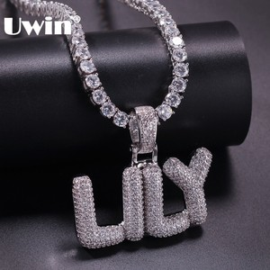 Image 1 - UWIN Small Custom Bubble Letters Pendant Necklace Combination Words Name With 4mm Tennis Chains Full Iced Cubic Zirconia Jewelry