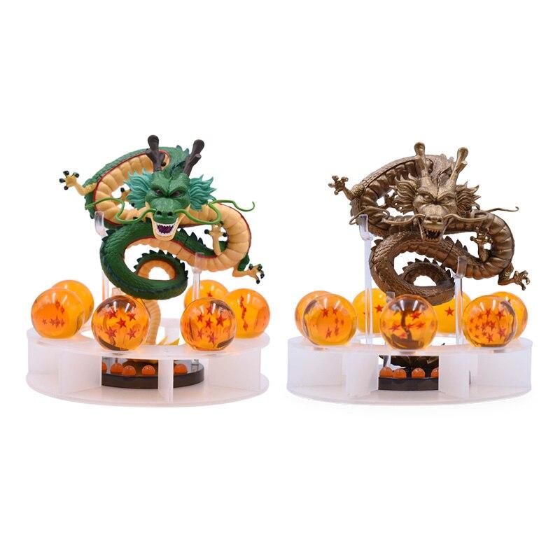 2 Styles Anime Dragon Ball Z figurine Shenron Shenlong avec 7 pièces 3.5 cm Dragon Ball PVC modèle poupée groot jouets chauds 15 cm