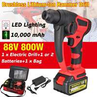 88v 800w 10000mAh Electric Hammer Brushless Cordless Lithium Ion Hammer Drill with 1 or 2 Battery Power Tools