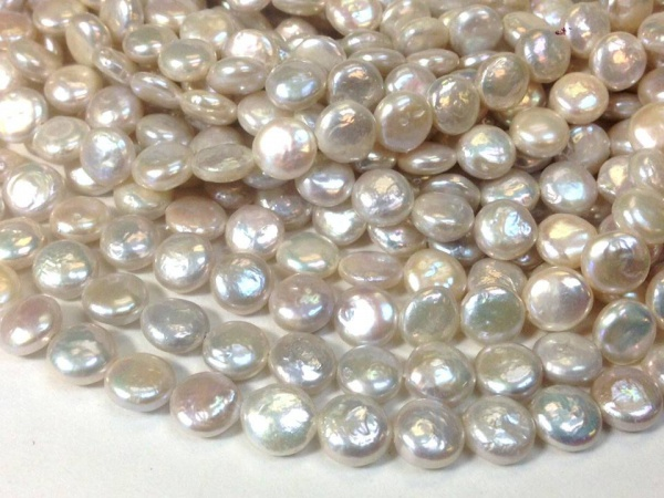 Belle perle deau douce ronde pièce plate perles keishi env.