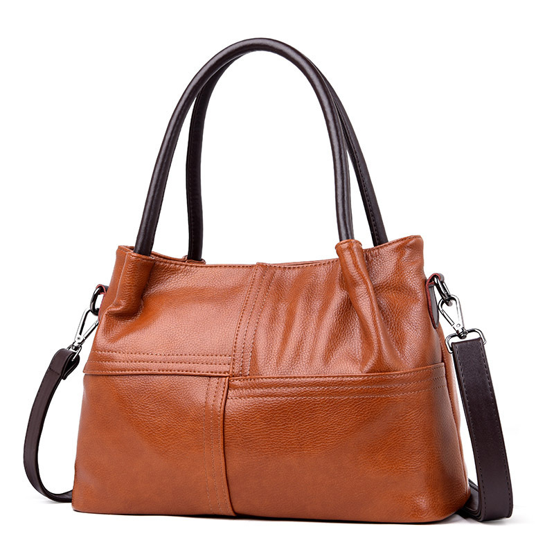 All-Match Hobos Soft Leather Large Women Messenger Bags Casual Shoulder Purses And Handbags Brown
