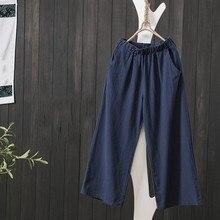 2019 New Women Loose Elastic Waist Pockets Cotton Linen Wide Leg Pants Solid Spring Summer Fashion Casual Pants Female Plus Size цены