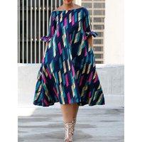 Women Midi Dress Sexy Off Shoulder Print Color Block Summer 2019 Trendy Plus Size Robe A Line Elegant Casual Street Day Dresses