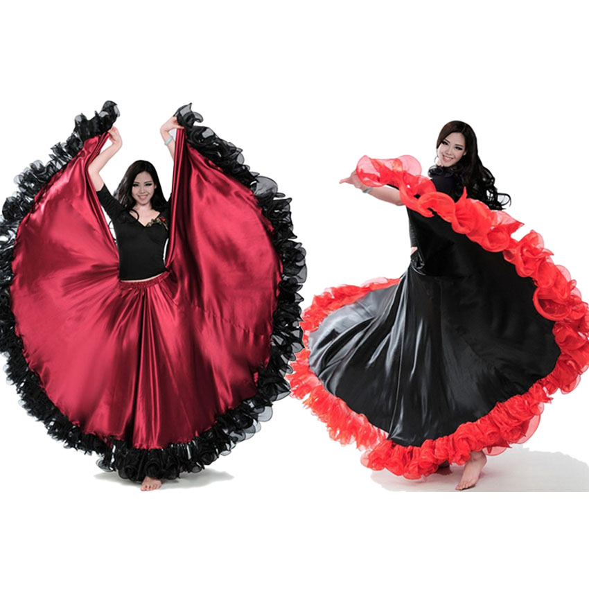 5c88a73b7d7e Fashion Plus Size Gypsy Style Female Spanish Flamenco Skirt Performance  Belly Dance Costumes Ruffle Lace Dress Team Performance-in Flamenco from  Novelty ...