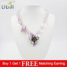 Lii Ji прозрачный кварц, Lemen кварц, Аметист с 925 пробы серебряный кулон ожерелье