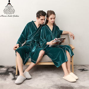 Image 3 - Men Womens Sleep Lounge Robes Gold Velvet  Autumn Nightgrowns Couple Robe Bathrobe Male Female Dressing Gown Lounge Homewear