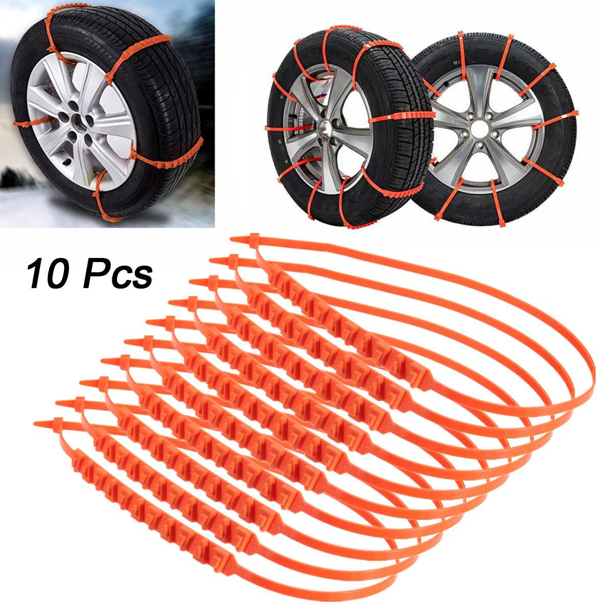 5pcs / 10Pcs Car Snow Tire Anti-skid Chains Tire Snow Chains Wheel Tyre Cable Belt Fit Tyre Width 175-295 Snow Rain Winter Tool image