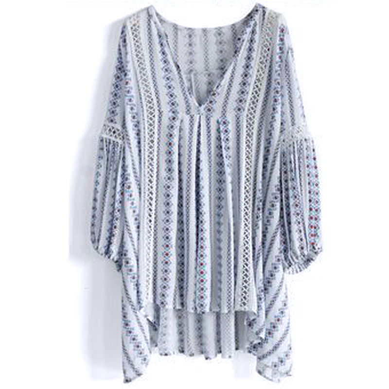 Women Boho Hippie Casual Striped Long Balloon Sleeve Loose T-shirt Tops