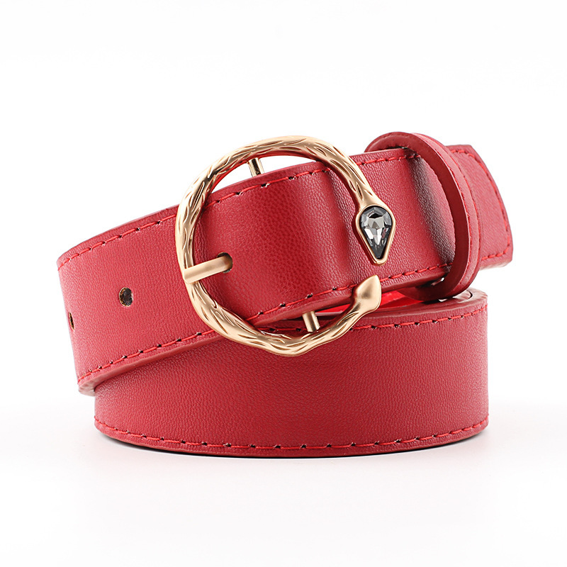Personality Belts Women Fashion 2019 Female Faux Leather Gem Circle Snake Pin Buckle Waist Belt For Dress Jeans